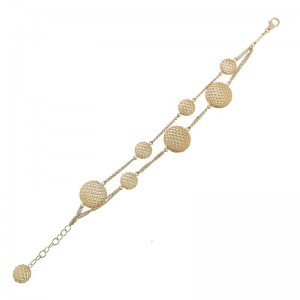 18Kt Gold 2 Row Round Station Bracelet