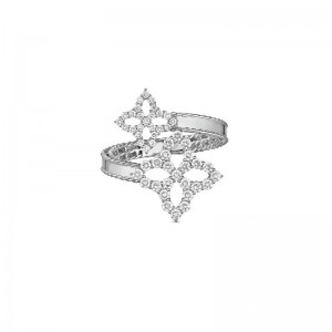 18Kt Gold Bypass Ring With Diamonds