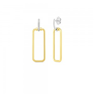 18K Rectangular Drop Earrings W. Dia Accent