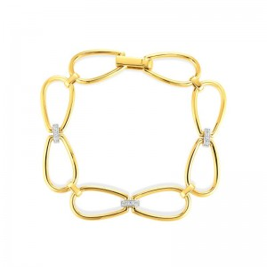 18K Stirrup Link Bracelet W. Dia Accent