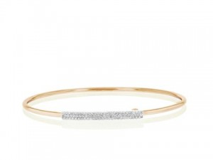 Phillips House: 14 Karat  Yellow Gold Diamond Wire Strap   Bangle Bracelet With 78=0.39Tw Round Diamonds  Length/Size: 8
