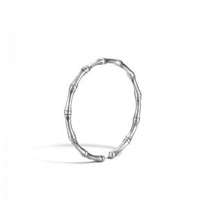 Womens Bamboo Silver Slim Flex Bracelet Size M