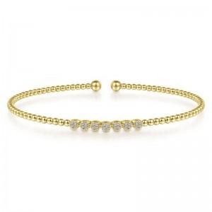 Yellow 14 Karat Bracelet With 0.13Tw Round Si1-2 Diamonds