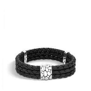 Mens Kali Silver Black Woven Leather Triple Row Bracelet Size M