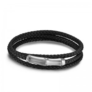 Bamboo Silver Black Leather Triple Wrap Bracelet with Magnetic Clasp, Size M