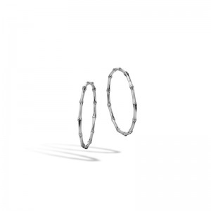 Bamboo Silver Large Hoop Earrings with Full Closure (Dia 52mm)
