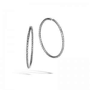 Classic Chain Silver Large Hoop Earrings with Full Closure (Dia 45mm)