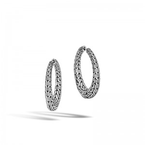Classic Chain Silver Small Graduated Hinged Earrings (Dia 20.5mm)