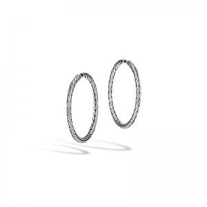 Womens Classic Chain Silver Medium Hoop Earrings With Full Closure Dia 37mm
