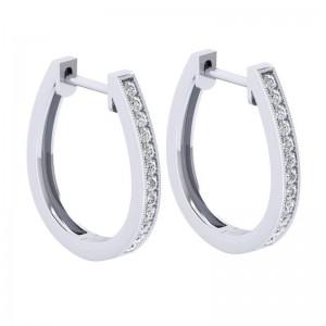 White 14 Karat 20 mm Slim Pave Hoop Earring With 24=0.26Tw Round Si1-2 Diamonds