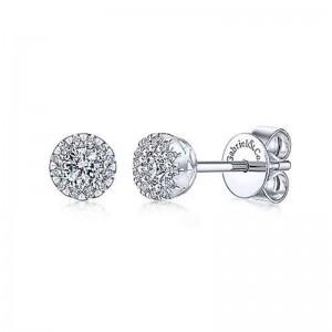 White 14 Karat Earrings With 26=0.24Tw Round Si1-2 Diamonds