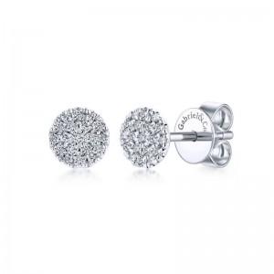 White 14 Karat Earrings With 38=0.24Tw Round Si1-2 Diamonds