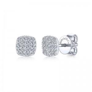White 14 Karat Earrings With 50=0.27Tw Round Si1-2 Diamonds
