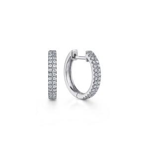 White 14 Karat Hoop Earrings With 60=0.29Tw Round Si1-2 Diamonds