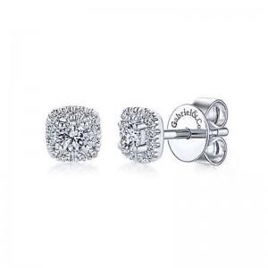 White 14 Karat Cushion Halo Stud Earrings With 26=0.27Tw Round Si1-2 Diamonds