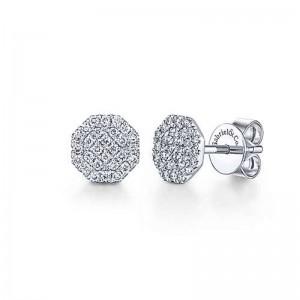 White 14 Karat Octagonal Cluster Earrings With 56=0.30Tw Round Si1-2 Diamonds