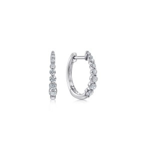 White 14 Karat Small Hoop Earrings With 0.26Tw Round Si2 Diamonds