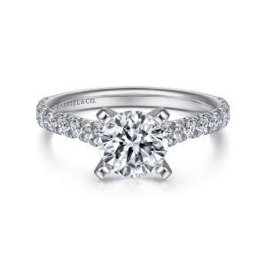 White 14 Karat Semi Mount Ring With 18=0.53Tw Round G/H Si1-2 Diamonds
