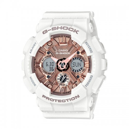 G-Shock Watch S Series/ Step Tracker Metallic 3D Dial White Resin