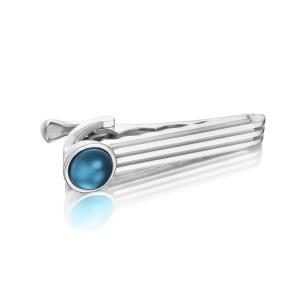 Racing Tie Bar featuring Sky Blue Topaz over Hematite