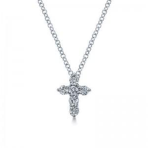 White 14 Karat Cross Pendant With 0.24Tw Round G/H Si1-2 Diamonds