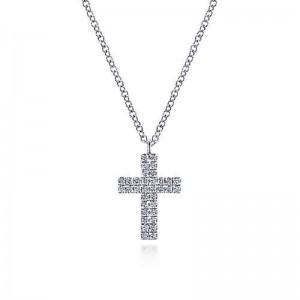 White 14 Karat Cross Pendant With 0.18Tw Round Si1-2 Diamonds