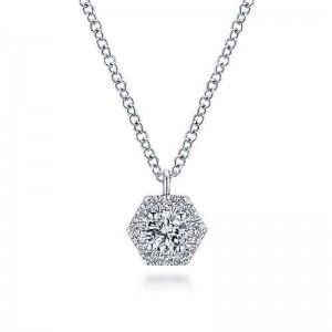 White 14 Karat Pendant With 0.25Tw Round Si1-2 Diamonds