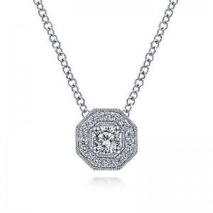 White 14 Karat Pendant With 0.22Tw Round Si1-2 Diamonds