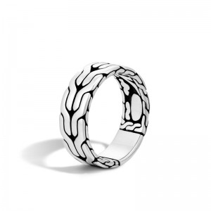 Classic Chain Silver Band Ring 8mm, Size 10