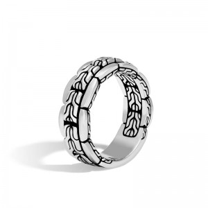 Classic Chain Silver 8mm Band Ring, Size 10