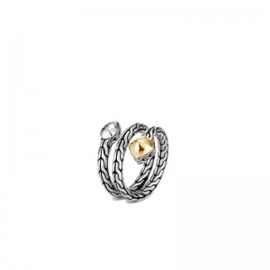 Classic Chain Hammered 18K Gold & Silver Cluster Ring BG