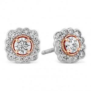 18 Karat Rose & Platinum Earrings Liliana Flower Stud With 0.55Tw Diamonds Platinum Posts & Backs