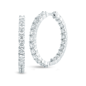 18Kt Perfect Diamond Hoops Small Inside Outside Diamond Hoop Earrings