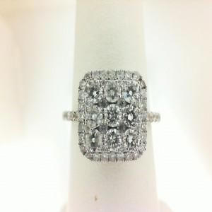 White 14 Karat Engagement Ring With 63=1.17Tw Round Diamonds