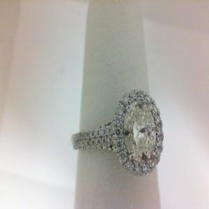 White 14 Karat Semi Mount Ring With 100=0.50Tw Round Diamonds