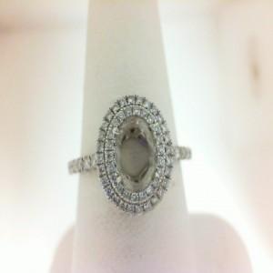 White 14 Karat Semi Mount Ring With 72=0.34Tw Round Diamonds