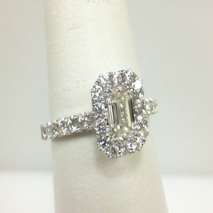 White 14 Karat Engagement Ring Size 6.5 With One 0.53Ct Emerald Diamond Vs-1/J And 32=0.51Tw Round Diamonds