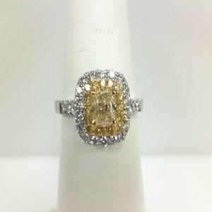 Yellow/White 14 Karat Engagement 0.58Ct Cushion Yellow Diamond 16=0.13Tw Round Yellow Diamonds 26=0.33Tw Round Diamonds Serial #: 715860