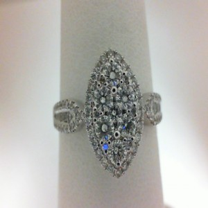 White 14 Karat Engagement Ring With 87=0.82Tw Round Diamonds