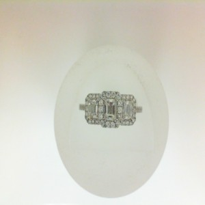 White 14 Karat 3 Stone Engagement Ring One 0.35Ct Emerald G/H Si2 Diamond 57=0.29Tw Round Diamonds 2=0.33Tw Emerald Diamonds