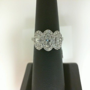 White 14 Karat Ring With 3=0.82Tw Oval G/H Si2 Diamonds And 54=0.36Tw Round Diamonds