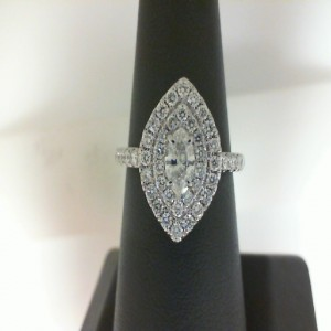White 14 Karat Ringwith One 0.30Ct Marquise H/I Si2 Diamond And 48=0.70Tw Round Diamonds