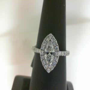 White 14 Karat Ring With One 0.47Ct Marquise J/K Si2 Diamond And 32=0.43Tw Round Diamonds