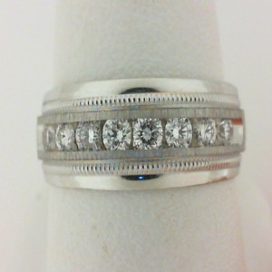 Men S White 14 Karat Milgrain Channel Set Wedding Band With 10=0.50Tw Round Diamonds Ring Size: 10