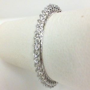 White 14 Karat Wedding Band With 0.45Tw Round Diamonds  Name Renaissance  Ring Size 6.5