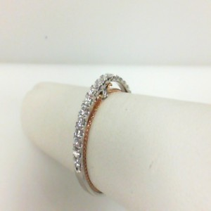 White/Rose 18 Karat Wedding Band With 0.35Tw Round Diamonds  Ring Size 6.5