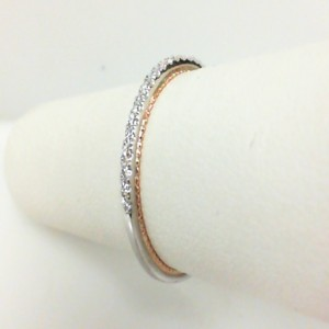 White/Rose 18 Karat Wedding Band With 0.15Tw Round Diamonds  Name Couture  Ring Size 6.5