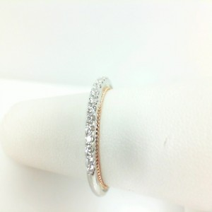 White/Rose 18 Karat Wedding Band With 0.25tw Round Diamonds  Name Couture  Ring Size 6.5