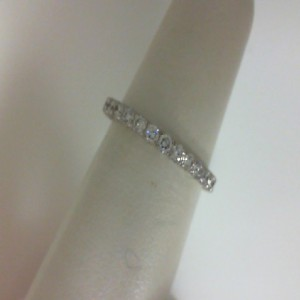 White 14 Karat Wedding Band With 0.90Tw Round G/H Si1 Diamonds  Ring Size 6.5