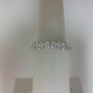 White 14 Karat Wedding Band With 0.84Tw Round G/H Si1 Diamonds  Name Renaissance  Ring Size 6.5